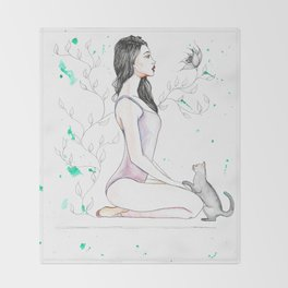 Yoga with her Cat Throw Blanket
