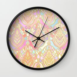 Rosy Opalescent Art Deco Pattern Wall Clock