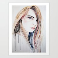 cara delevingne Art Prints featuring Cara Delevingne by Lenas 9th Art