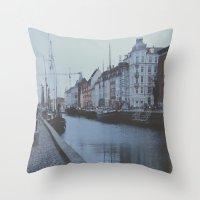 copenhagen Throw Pillows featuring Copenhagen by Gabriri
