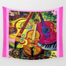 Rose Color Guitar String Instruments Wall Tapestry