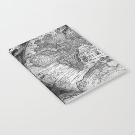 World Map Antique Vintage Black and White Notebook
