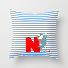 n for narwhal Throw Pillow
