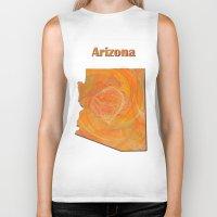 arizona Biker Tanks featuring Arizona Map by Roger Wedegis