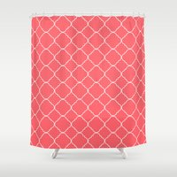 moroccan Shower Curtains featuring Moroccan Coral by Beautiful Homes