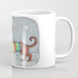 Dachshund in a suit with a snowman - New Year Coffee Mug