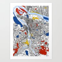 portland Art Prints featuring Portland by Mondrian Maps
