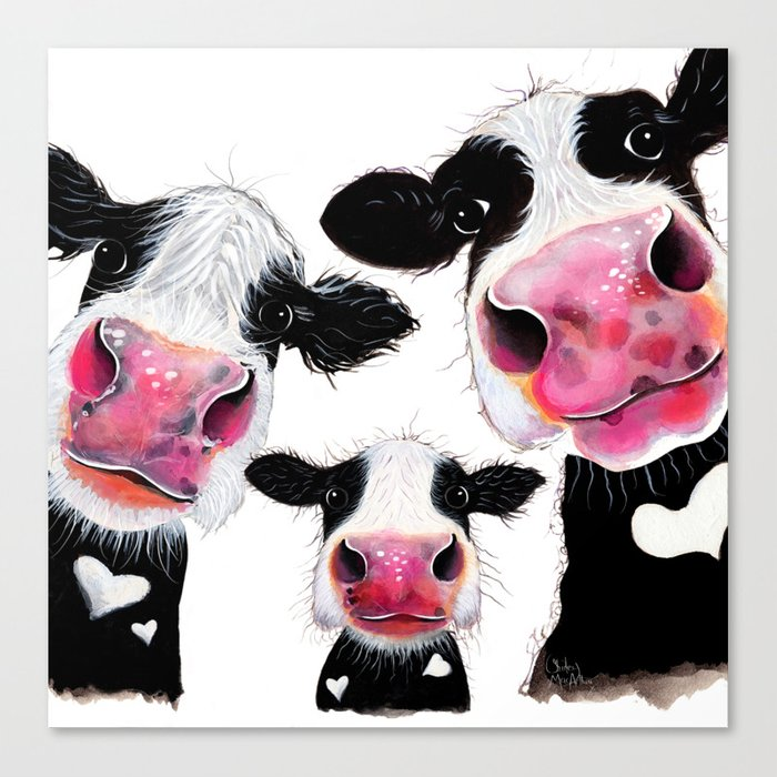CoW PRiNT ANiMaL PRiNT ' THe NoSeY FaMiLY ' BY SHiRLeY MacARTHuR Leinwanddruck