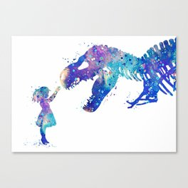 Girl and Dinosaur T-Rex Watercolor Canvas Print