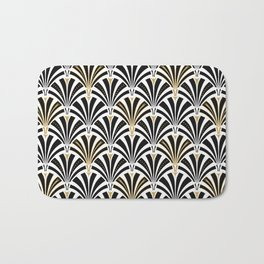Art Deco Fan Pattern, Black and White Bath Mat