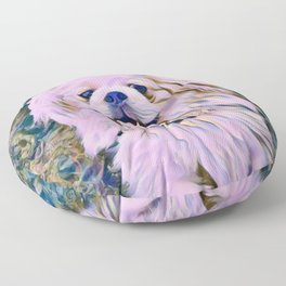 pekingese at the park Floor Pillow