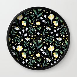 Colourscape Summer Floral Pattern Black Wall Clock