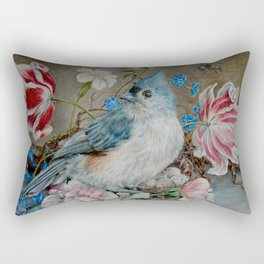 Blue Titmouse and Bee with floral still life Rectangular Pillow