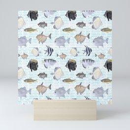Fish Pattern - Cool Seacoast Watercolor Mini Art Print