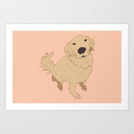 Golden Retriever Love Dog Illustrated Print Art Print
