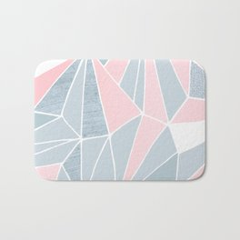 Cool blue/grey and pink geometric prism pattern Bath Mat