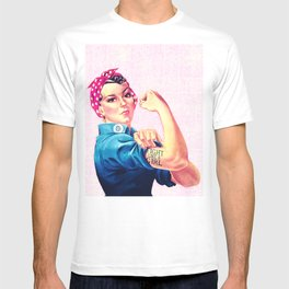 Fight Like A Girl Rosie The Riveter Girly Mod Pink T-shirt