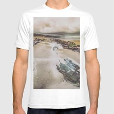 Ocean Beach - Oregon Pacific Ocean Beach MEDIUM White Mens Fitted Tee