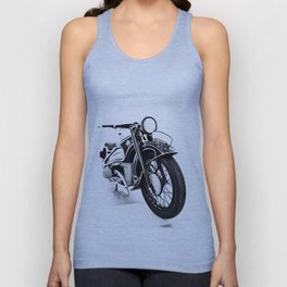 Vintage classic bike, motorcycle art, white background Unisex Tank Top