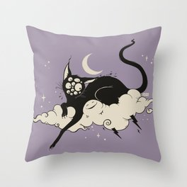 Strange Many Eyed Black Cat On Cloud With Lighting Bolt Throw Pillow