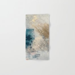 Embrace: a minimal, abstract mixed-media piece in blues and gold with a hint of pink Hand & Bath Towel