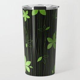 Colorful Art Deco Green Flower Pattern Travel Mug