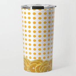 Orange polkadot wrap around with orange fruit slices Travel Mug