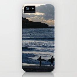 Morning Surfers on Bondi Beach iPhone Case
