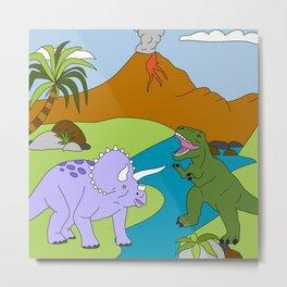 Jurassic Scene - Prehistoric Cartoon Dinosaur Design by Cheyney Metal Print
