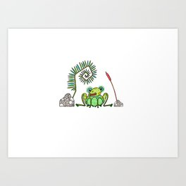 Frog, Fern, Bulrush and Rocks Art Print