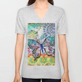 Fantasía con Mariposas Unisex V-Neck