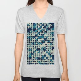 geometric square and circle pattern abstract in blue green Unisex V-Neck