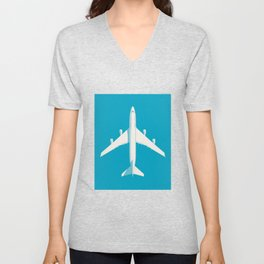 747-400 Jumbo Jet Airliner Aircraft - Cyan Unisex V-Neck