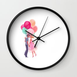 Love balloons Wall Clock