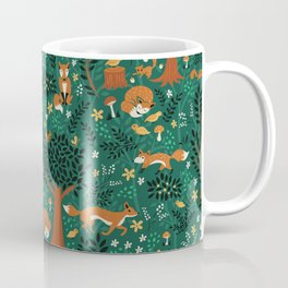 Foxes Playing in the Emerald Forest Coffee Mug