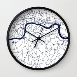 London White on Navy Street Map Wall Clock