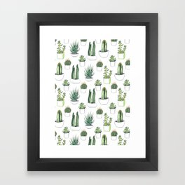 Watercolour Cacti & Succulents Framed Art Print