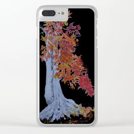 Orange Leaves Clear iPhone Case