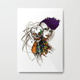 Skull Mask Metal Print