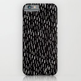 Dark Winter Night - White Strokes Lines on Black - Mix & Match with Simplicity of life iPhone Case