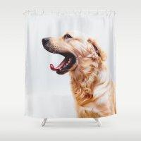 golden retriever Shower Curtains featuring Golden Retriever Dog Yawning by Limitless Design
