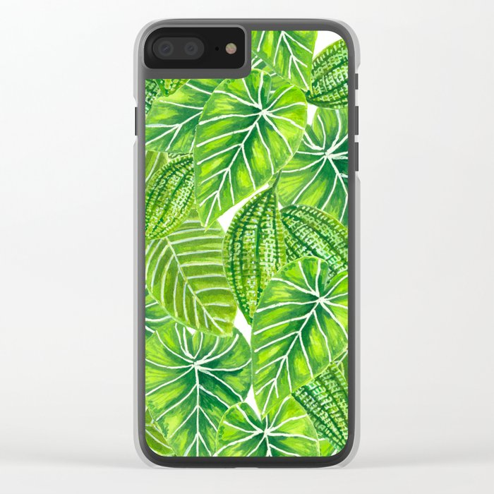 Watercolor tropical leaves pattern design Clear iPhone Case