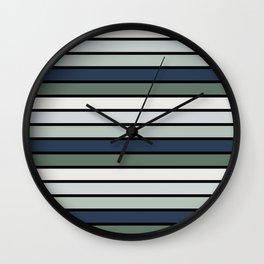 Multicolored Stripes: Blue & Green Wall Clock