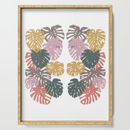 Multicolor Swiss Cheese Plant Leaves Serving Tray