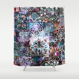 Celestial Tile Pattern Shower Curtain