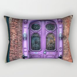 Purple Doorway, Brick Brownstone Rectangular Pillow