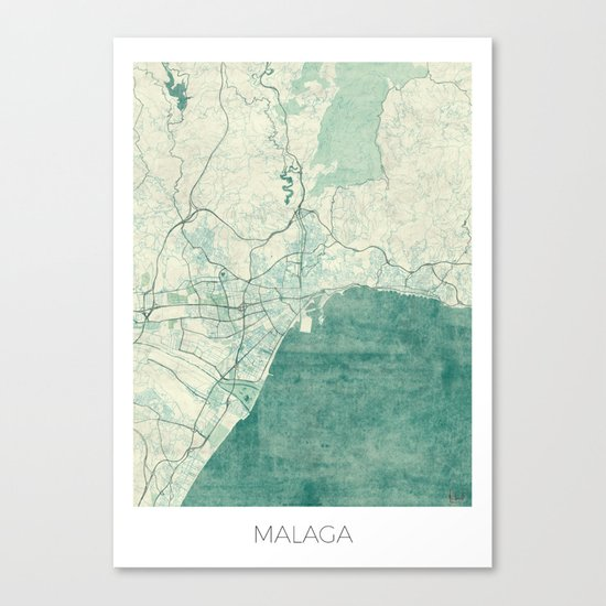 Malaga Map Blue Vintage Canvas Print
