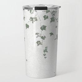 Gray Green Trailing Ivy Leaf Print Travel Mug