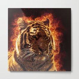 Burning Tiger Metal Print