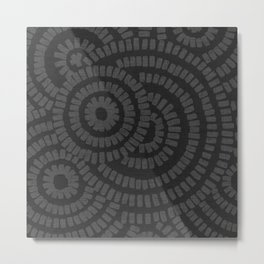 Charcoal grey brushed circles on textured cloth - abstract geometric pattern Metal Print